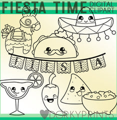 Fiesta Time Blackline Holiday Clipart