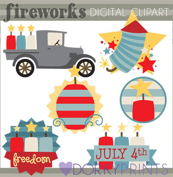 4th of July Fireworks of Summer Clipart