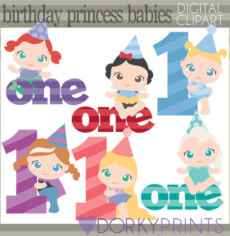 Baby Princess First Birthday Clipart