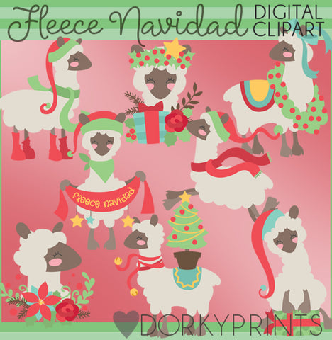 Holiday Llamas Christmas Clipart