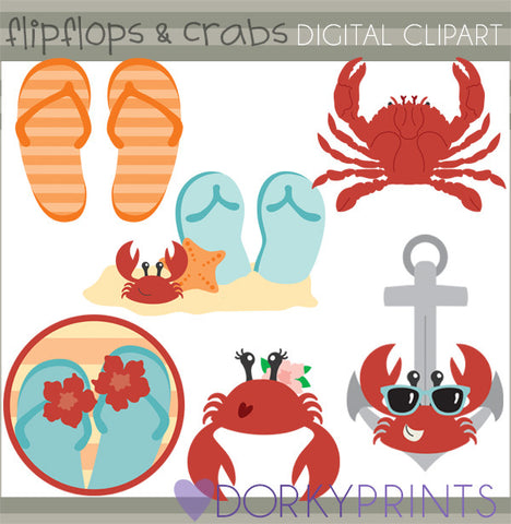 Flip Flops and Crabs Summer Clipart