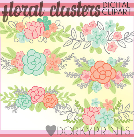Flowers and Laurels Spring Clipart