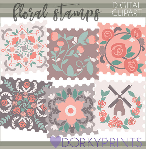 Floral Stamp Clipart
