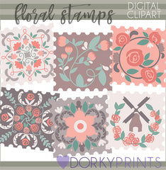 Floral Stamp Fun Clipart