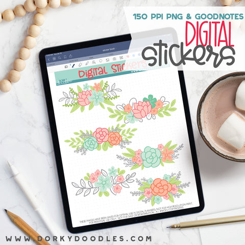 Fun Flowers Digital Planner Stickers