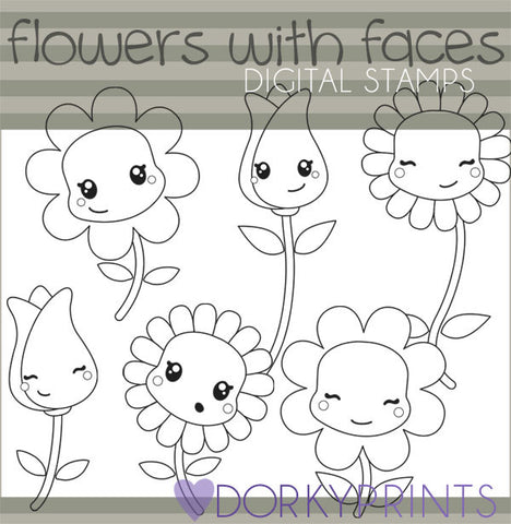 Happy Flowers Blackline Spring Clipart