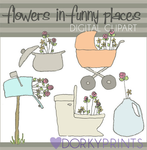 Flowers in Funny Places Spring Clipart