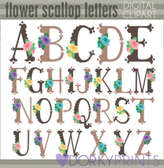Flower Scallop Alphabet Symbols Clipart