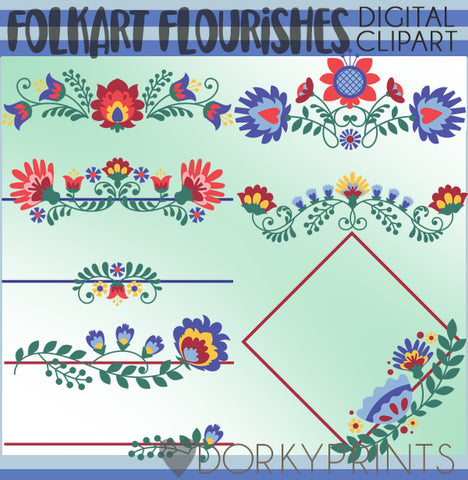 Floral Folkart Frames and Flourishes Clipart