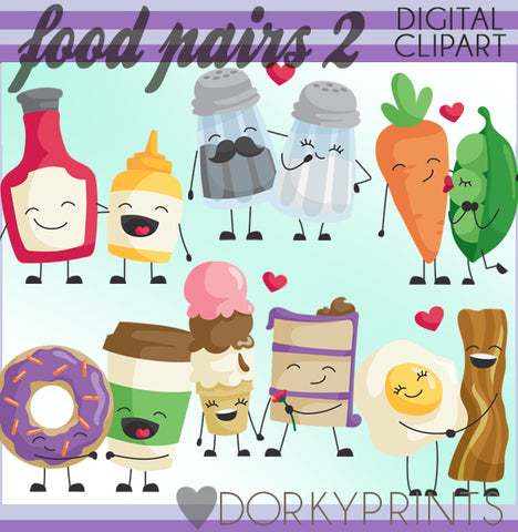 Food Pairs Valentine Clipart