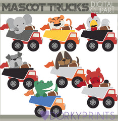 Dumptruck Mascot Animals Clipart