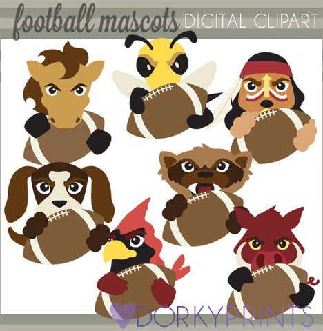 Football Mascot Animals Clipart