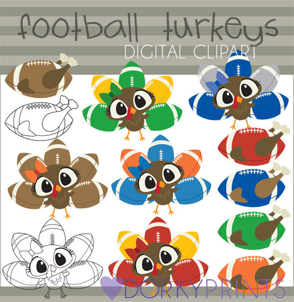 Football Turkeys with Bows Thanksgiving Clipart