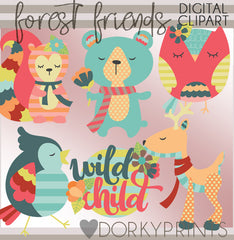 Forest Friend Animals Clipart