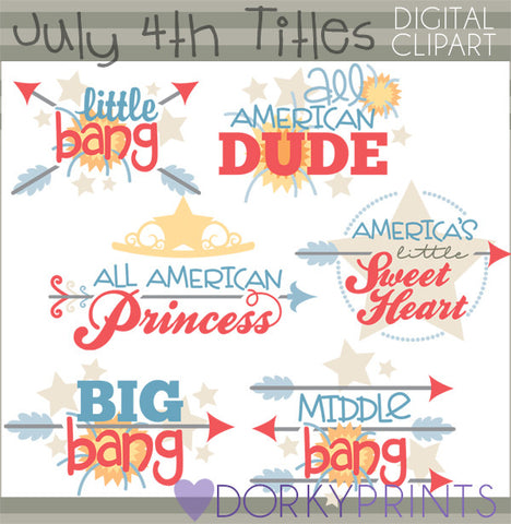 Titles for 4th of July and Summer Clipart