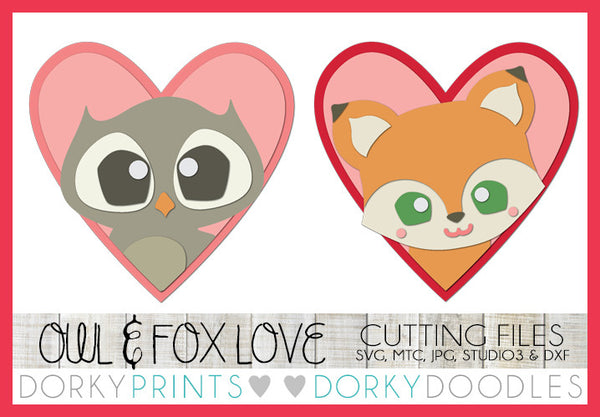Owl and Fox in Hearts Valentine SVG Cuttable Files