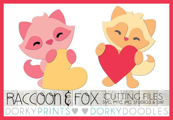 Raccoon and Fox Holding Hearts Valentine SVG Cuttable Files