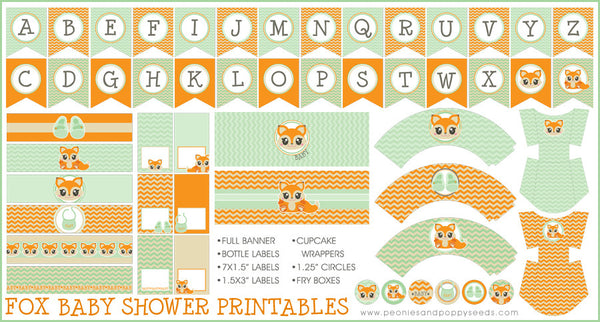 Orange and Green Fox Baby Shower Printables
