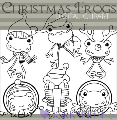 Holiday Frogs Blackline Christmas Clipart