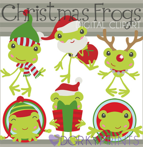 Frogs Christmas Clipart