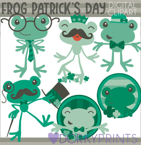 St Patrick's Day Frogs Holiday Clipart