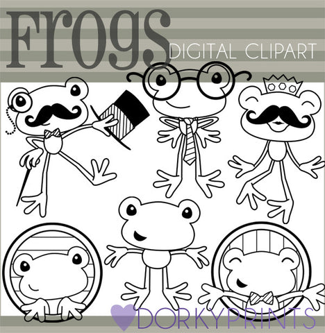 Frogs Black Line Animals Clipart