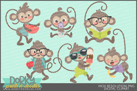 Funky Monkey Animals Clipart