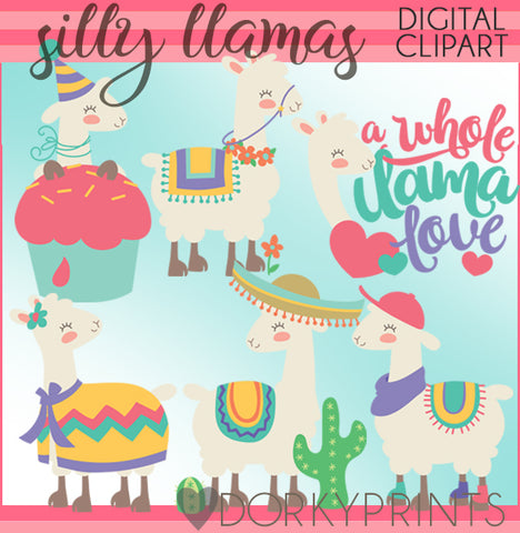 Silly Llama Animals Clipart