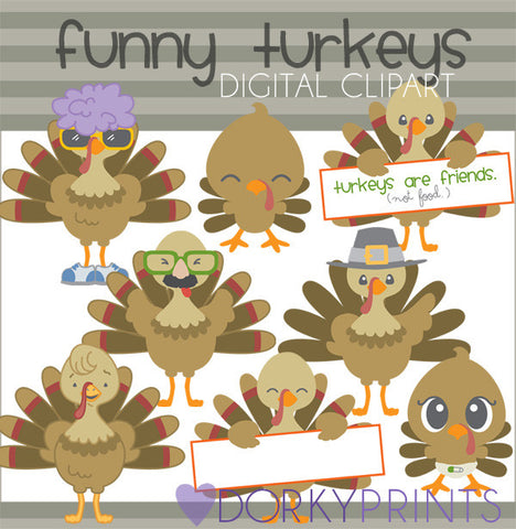 Funny Turkeys Thanksgiving Clipart