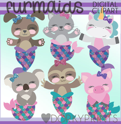 Furmaids Animal Mermaid Summer Clipart