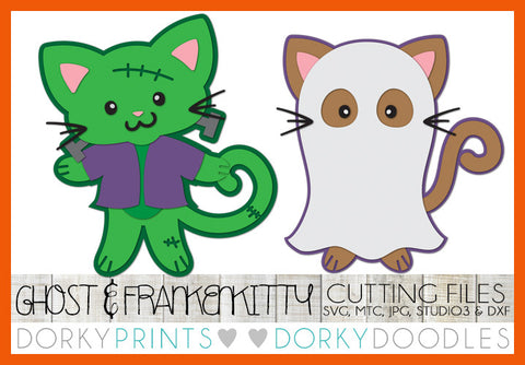Frankenkitty and Ghost Halloween SVG Cuttable Files