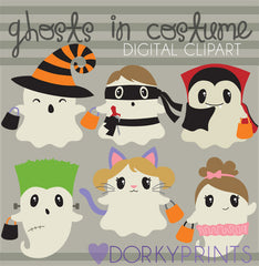 Ghosts in Costume Halloween Clipart