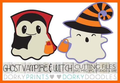 Ghost Witch and Vampire Halloween SVG Cuttable Files