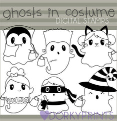Ghosts in Costume Black Line Halloween Clipart