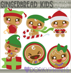 Gingerbread Kids Christmas Clipart