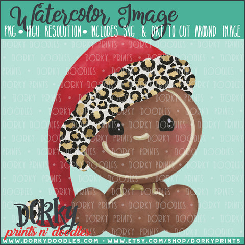 Leopard Print Christmas Gingerbread Baby Watercolor PNG