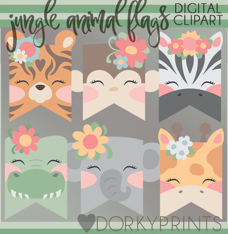 Girl Jungle Animals Clipart