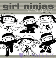 Girl Ninja Black Line Hero Clipart