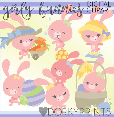 Pink Bunny Spring Clipart