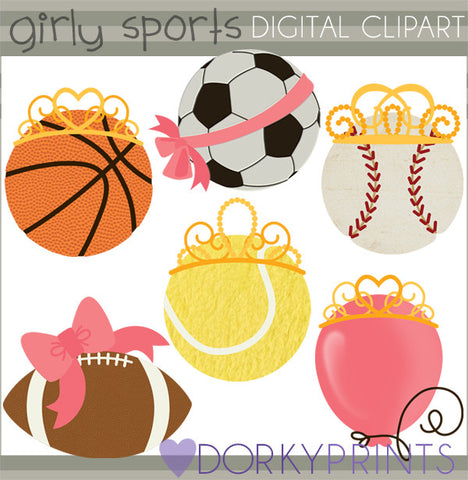 Girly Sports Balls Clipart