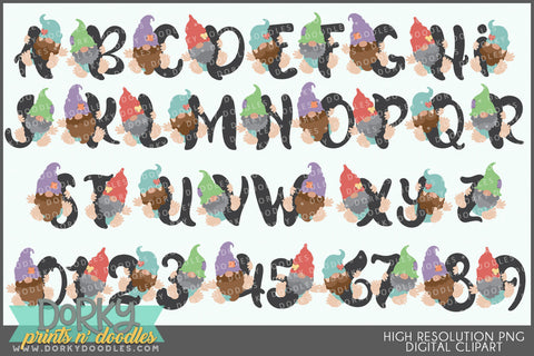 Cute Gnome Font and Symbols Clipart