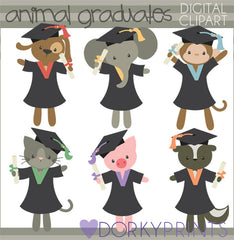 Graduation Animals School Clipart