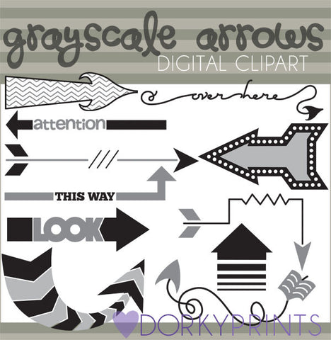 Grayscale Arrows Clipart