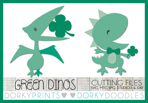 St Patrick's Day Dinos Cuttable Files