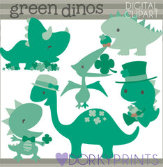 St Patrick's Day Dinosaur Holiday Clipart