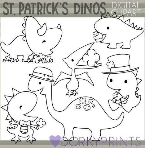 St Patrick's Day Dinosaur Blackline Holiday Clipart