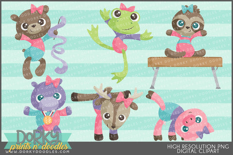 Gymnastic Animals Clipart