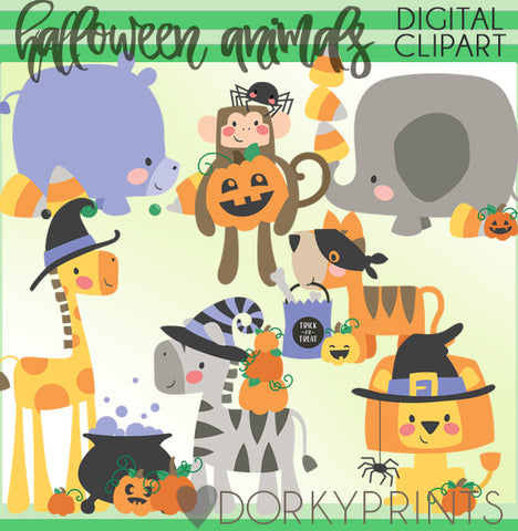 Boxy Animal Halloween Clipart