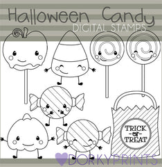 Black Line Candy Halloween Clipart