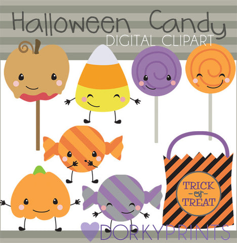 Kawaii Candy Halloween Clipart